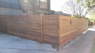 Merbau Slat Fence in Kew