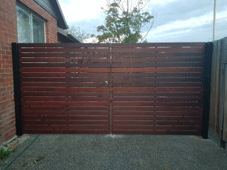 Horizontal Merbau Double Gates in Bellfield