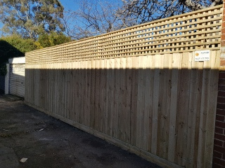 Treated Pine Paling Fence with Lattice in Northcote