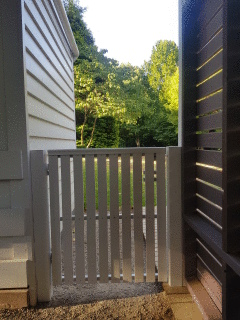 Single Gate with White Pickets + Handrail Capping