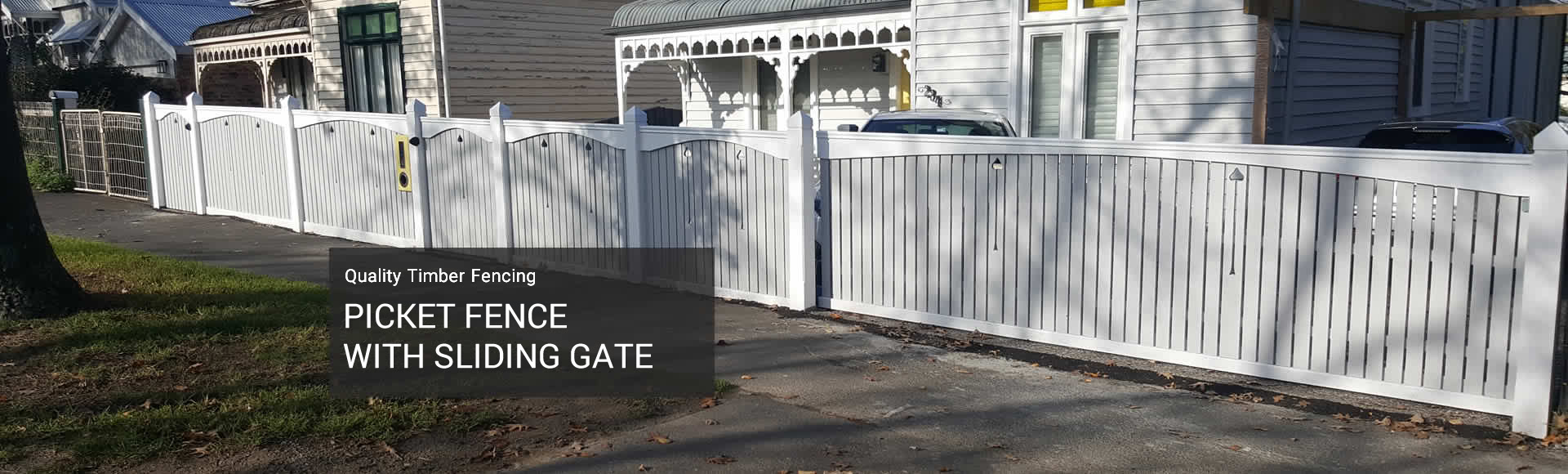 picket fence with sliding gate